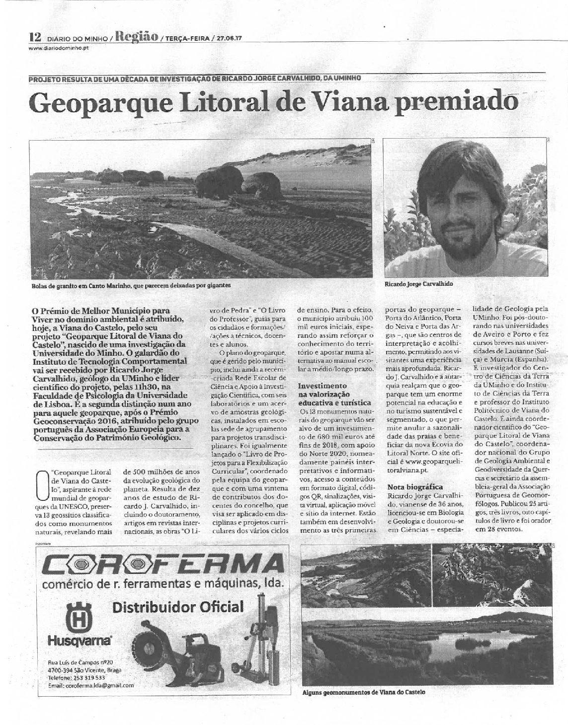 Geoparque Litoral de Viana premiado