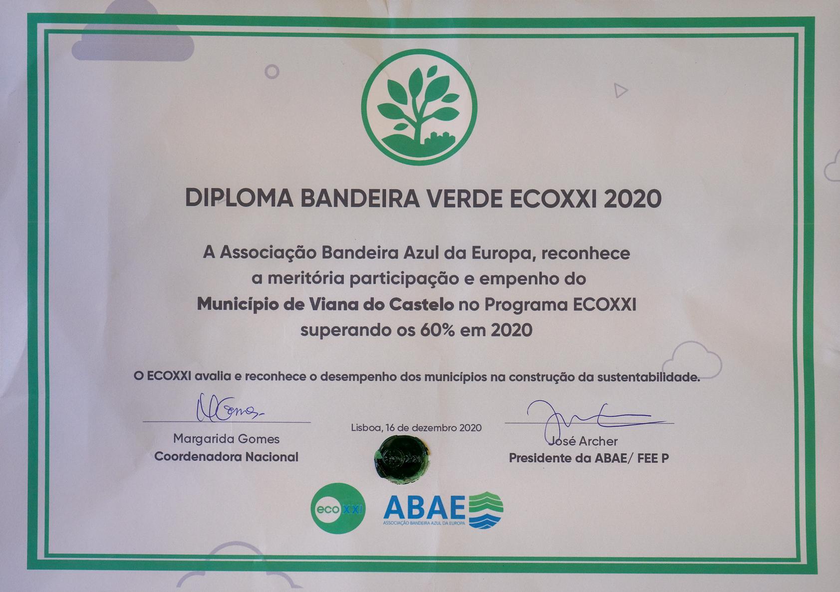 Viana do Castelo recebeu Diploma da Bandeira Verde Eco XXI 2020